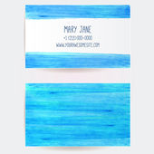 Two sided business card template with blue marker paint stains and strokes. Artistic vector design. — Stock Vector