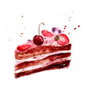 与粉红色果奶油、 樱桃和草莓的水彩蛋糕。孤立在白色背景上的矢量甜点图. — 图库矢量图片