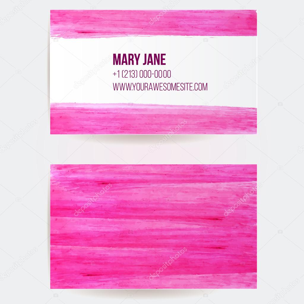 Two sided business card template with pink paint strokes for 2 sided business cards templates free