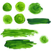 Set of green oil paint splotches and strokes. Artistic design elements. — Stock Photo