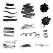 Set of black ink brush strokes and splotches — Stock Photo