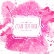 White hand drawn frame with doodle bird. Pink watercolor splash background. Artistic design concept for wedding invitations, romantic and valentines day cards. — Stock Vector #61322553