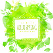 White doodle square frame with text hello spring. Green watercolor splash background with printed leaves. Artistic vector design for spring banners, greeting cards, wedding. — Stock Vector #61323393