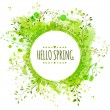 White doodle circle frame with text hello spring. Green paint splash background with leaves. Fresh vector design for banners, greeting cards, spring sales. — Vetor de Stock  #61323423