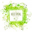 White hand drawn square frame with doodle bird and text hello spring. Green watercolor splash background with leaves. Artistic vector design for banners, greeting cards, spring sales. — Stock Vector #61323429