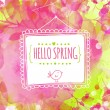 Artistic pink and green background with watercolor texture and leaves traces. Hanging hand drawn square frame with text hello spring and bird. Vector design for spring sales, banners, wedding cards. — Stock Vector #61323511