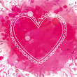 White hand drawn heart frame. Artistic pink watercolor splash background with leaves. Creative design concept for valentines day holiday. — Stock Vector #61323535