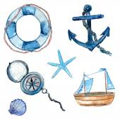 Nautical design elements hand drawn in watercolor. Life buoy with rope, compass, anchor, wooden ship, star fish and shell. Art vector illustrations isolated on white background. — Stock Vector