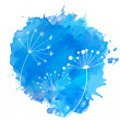 Blue paint splash with white silhouettes of umbel plants — Stock Vector #63156361