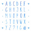 English watercolor alphabet with hand drawn tall letters. Vector font. — Stock Vector #63157323
