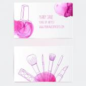 Make up artist business card template — Stock Vector