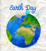 Earth day poster with watercolor globe vector illustration on rumple paper — Stock Vector