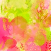 Nature inspired pink and green background with watercolor texture and leaves. Vector design for spring advertisement, banners, cards. — Vettoriale Stock