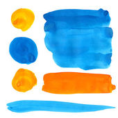 Blue and orange gouache paint stains and strokes. Bright vibrant color design elements isolated on white background. Vector artistic backdrop for logo and banners. — Stock Vector