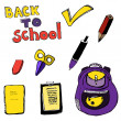 Back to school lettering and items — Stock Vector #67156979