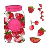 Постер, плакат: Strawberry jam in jar