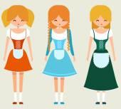 Girls in traditional bavarian costume — Vecteur