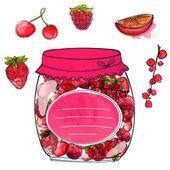 Homemade berry jam — Stock Vector