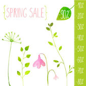 Spring sale green elements — Vector de stock