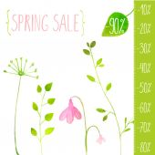 Spring sale green elements — Stock vektor