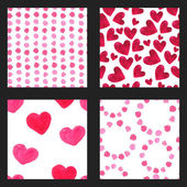 Watercolor red hearts pattern — Stock Vector