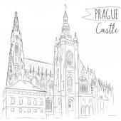 Château de Prague, République tchèque. — Vecteur