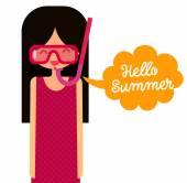 Maska fajka mówi Witaj lato. — Wektor stockowy