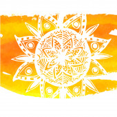 White mandala on yellow watercolor stroke. Symbol of home and co — Stockvektor