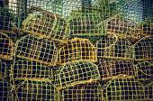 Pile group of fishing cage traps — Foto Stock