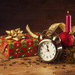 Christmas decorations and clock — Stock Photo #58361985
