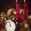 Christmas decorations and clock — Stock Photo #58362051