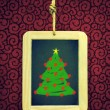 Hanged Slate with Christmas tree — Stock Photo #59123327