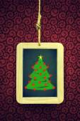 Hanged Slate with Christmas tree — Stock Photo