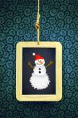 Hanged Slate with Christmas snowman — Stock Photo
