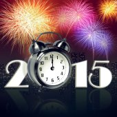 Clock at new year eve with fireworks — Stock Photo