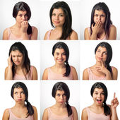 Girl in various facial expressions — Stock Photo