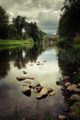 Roman bridge over Alva river — Stock Photo