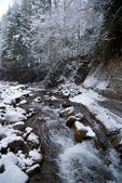 Waterfall in the mountain winter forest with snow-covered trees and snowfall — Stock Photo