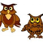Cute brown owls cartoon characters — Stock Vector #75701781