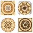 Vintage brown compasses and compass roses — Stock Vector #75701843