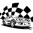 Racing car with checkered flag silhouette — Stock Vector #75702013