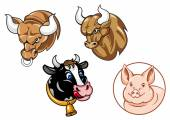 Cartoon heads of bulls, cow and pig — Stock Vector