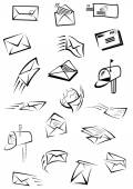 Postal icons with letters, envelopes, postboxes — Stock Vector