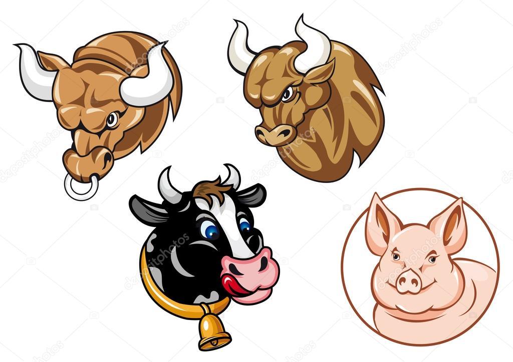 Imagenes Vacas Animadas: Dibujos Animados De Cabezas De Toros, Vacas Y Cerdos