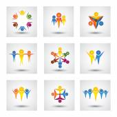 People, community, kids vector icons and design elements — Stock Vector