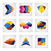Abstract 3d squares, arrows & cube element design vector icons. — Stock Vector