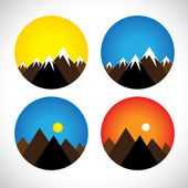 Icons of hills & peaks with snow in evenings, mornings - concept — Stock Vector
