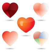 Abstract unique heart vector icons collection set — Stok Vektör