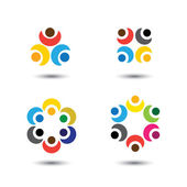 Set of colorful people icons in circle - vector concept school, — Stock Vector