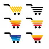 Vector icon simple abstract line shopping carts collection set  — Vettoriale Stock